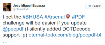 Peepdf Black Hat Arsenal Challenge Tweet