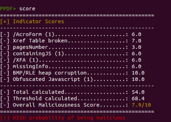 Peepdf PDF Analysis Tool Score command